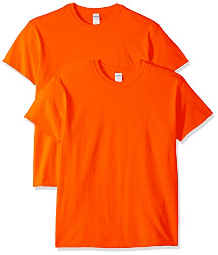 Gildan Men's Heavy Cotton Adult T-Shirt, 2-Pack, Orange, Medium