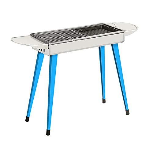 Gril extérieur de Barbecue de Charbon de Bois Portable Support de Gril étagère de Barbecue en Acier Inoxydable GW (Couleur : Bleu)