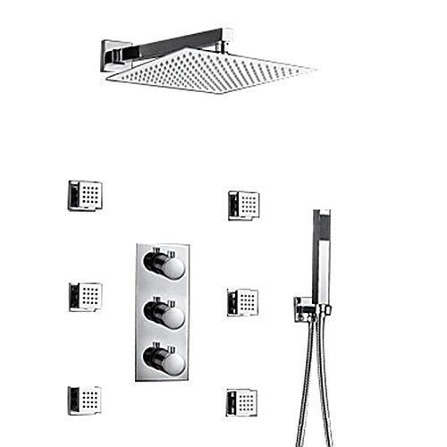 LightInTheBox 12Inch Thermostatic Wall Mount Shower Faucet Three Handles Rainfall Shower Mixer...