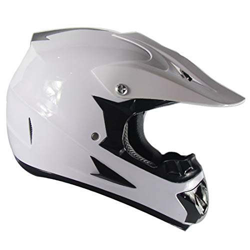 Casco de motocicleta para niños con guantes máscara,Conjunto de casco MTB de cara completa para adultos,Casco de Motocross unisex para Quad Bikes BMX Bicicleta MTB ATV,Aprobado por DOT y ECE,blanco