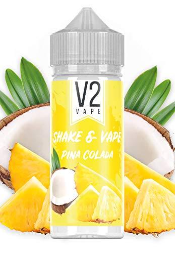 V2 Vape Shake and Vape hochdosiertes Premium Aroma-Konzentrat zum selber mischen mit Base. Zum direkt dampfen - ohne Reifezeit 20ml 0mg nikotinfrei Pina Colada