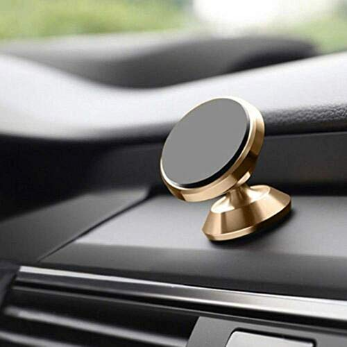 ZHTY Titular del teléfono del Coche 360DEG; Rotación Gratuita Universal Magnético Dashboard Teléfono Teléfono Montajes de automóviles Compatible Song (Color : Gold, Size : One Size)