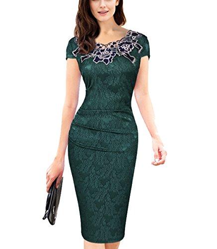 U8Vision Dames Elegant Rose ronde hals kant Stitching jurk Business Case Avondjurk Feestjurk Cocktail jurk Gr.S-XXXL (Groen, M)