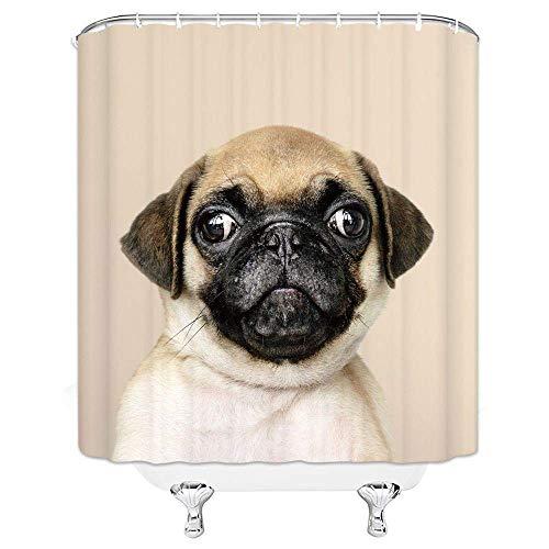 H&eliebhaber Duschvorhang Tier Niedlicher Mops 3D Design Lustiges Kind Junge Mädchen Badezimmer Home Dekorative Schnelltrocknung & Beständig mit Haken, Graubraun