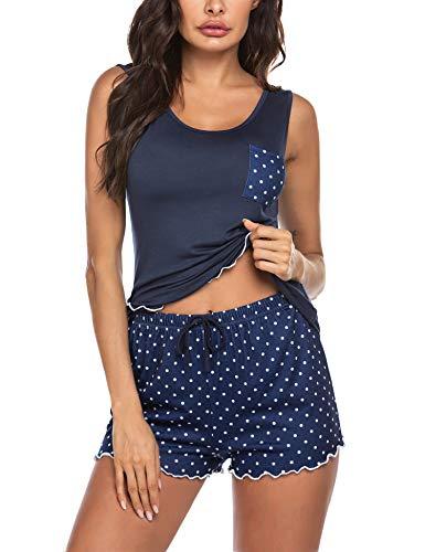 ADOME Damen Pyjama Set Rundhals Ärmellos Nachthemd mit Shorts Sleepwear Bekleidung Negligee Nachtwäsche Schlafanzüge für Frauen Blau M
