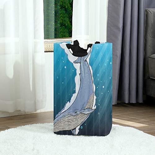 SURERUIM Wäschesack,Wal Unterwasser Cartoon Ozean Tiere,Großer faltbarer Wäschekorb,zusammenklappbarer Wäschekorb,zusammenklappbarer Waschvorratsbehälter