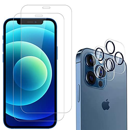 NEW'C Paquete de 4, 2 x Vidrio Templado para iPhone 12 y 2 x Protección de Cámara Trasera - Antiarañazos - Sin Burbujas de Aire - Ultra Resistente - Vidrio Dureza 9H