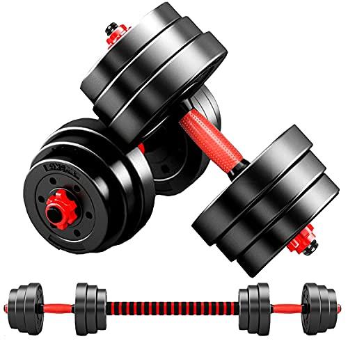 MOJEER ダンベル 可変式【最新進化版・3in1 ダブルナット】10kg 20kg 30kg 40kg 2個セット バーベルにもなる ダンベル 無臭素材 静音LSB (10kg×2個セット/赤)