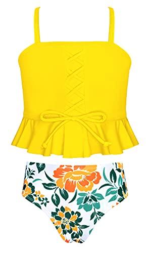 SHEKINI Girls Sports High Waisted Bikini Set Bandeau Ruffle Flounce Two Piece Swimsuits (Printing - Yellow, 10-12 Years)