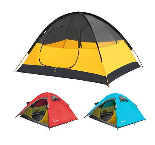 Kingcamp – Tienda de campaña para 2 Personas – Diseño en Cruz de aleación de Aluminio y Doble Capa – antiviento, antilluvia y Transpirable – 210 x 150 x 115 cm – 2,7 kg – Color Naranja