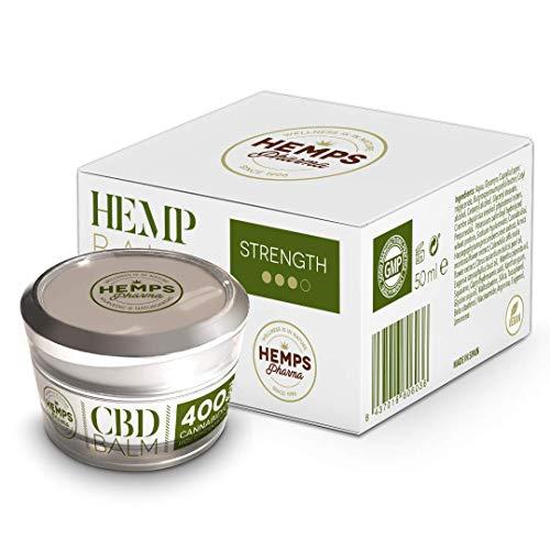 Crema di Canapa altamente efficace | Crema al CBD (400 mg di Cannabidiolo) per Alleviare Dolori Muscolari e Articolari - 50 ml | Hemps Pharma - CBD Balm Strength