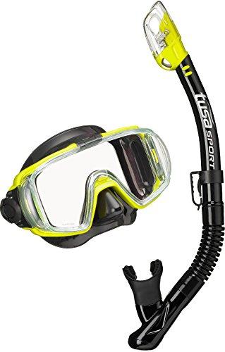 Schnorchelset Tusa Visio - tauchset tauchbrille trocken schnorchel tauchmaske erwachsene (Schwarz/Gelb)