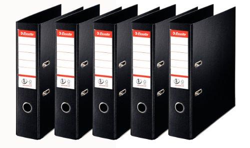 Esselte, N°1 Power, Pack de 5 Classeurs à levier, Noir, Dos 75mm, A4, PP, 162570