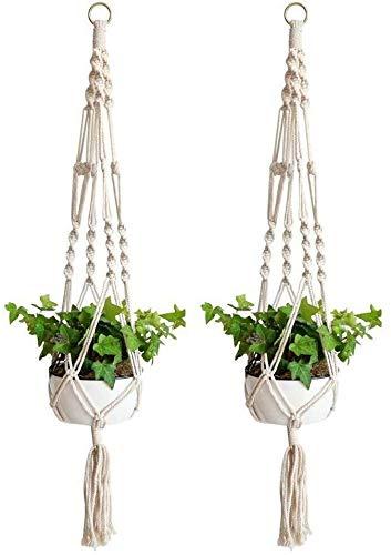 Anivia 2 colgadores de macramé para plantas, para interiores y exteriores, cesta colgante, cuerda...