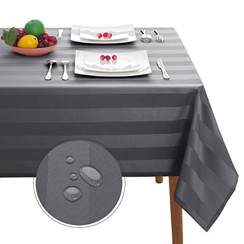 Hiasan Grey Striped Square Tablecloth Waterproof - Stain Resistant and Spillproof Polyester Fabric Washable 4 ft Table Cloth for Kitchen and Dining Table, 54 x 54 inch