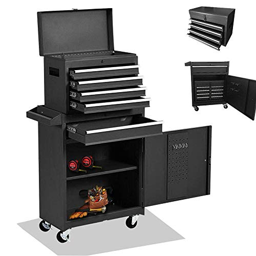 5-Drawer Tool box Tool Chest, High Capacity Rolling Tool box Tool Storage Tool Cabinet Large Big Toolbox 2 in 1 Tool Organizer with 4 Wheels and Lockable Drawers,Garage Warehouse (black)