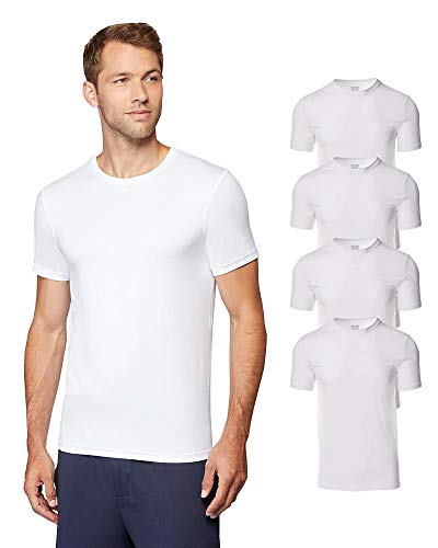 32 DEGREES Mens 4 Pack Cool Quick Dry Active Basic Crew T-Shirt, White, Medium