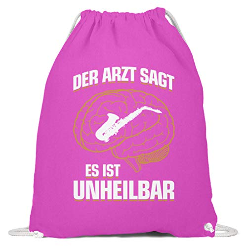 shirt-o-magic Saxophon: .es ist unheilbar - Baumwoll Gymsac -37cm-46cm-Fuchsia