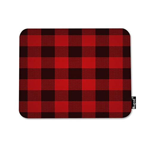 Mugod Buffalo Plaid Mouse Pad Classic Lumberjack Plaid Pattern in Red and Black Decor Gaming Mouse Pad Rectangle Non-Slip Rubber Mousepad for Computers Laptop 7.9x9.5 Inches