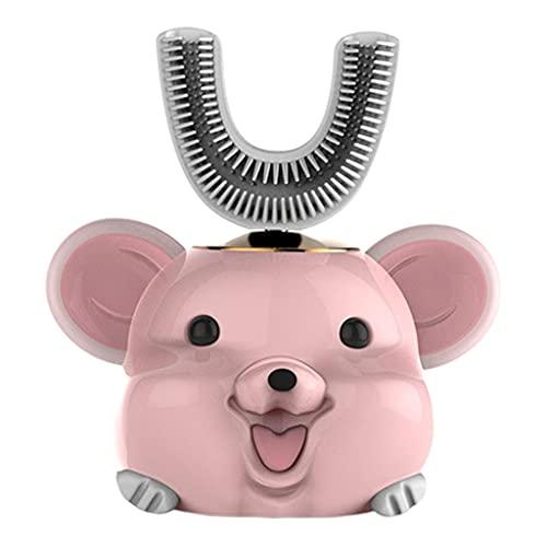perfeclan Cepillo de dientes eléctrico para niños Cinco modos inteligentes Limpieza de 360 ° en forma de U Diseño impermeable Cepillos de dientes automáticos - Rata rosa