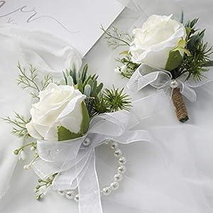 Floroom Rose Wrist Corsage Wristlet Band Bracelet and Men Boutonniere Set for Wedding Flowers Accessories Prom Suit Decorations White
