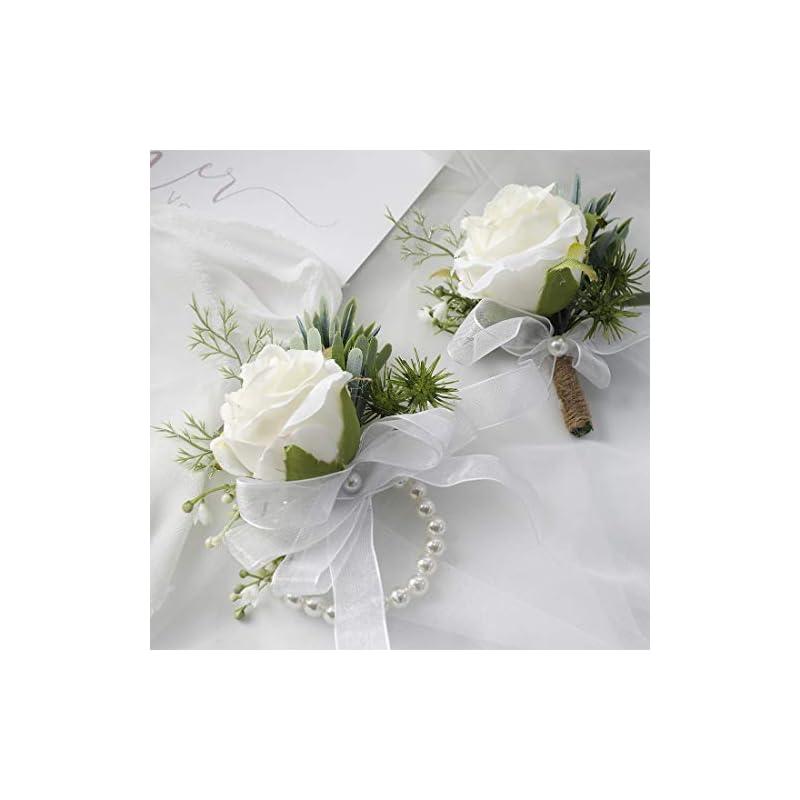 silk flower arrangements floroom rose wrist corsage wristlet band bracelet and men boutonniere set for wedding flowers accessories prom suit decorations white