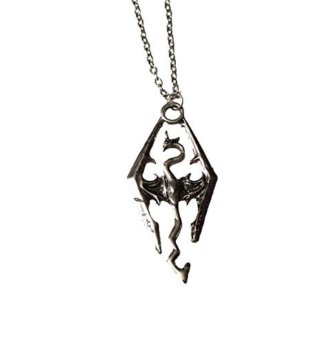 Skyrim Elder Scrolls Dragon Symbol Silber Farbe Anhänger Kette Halskette