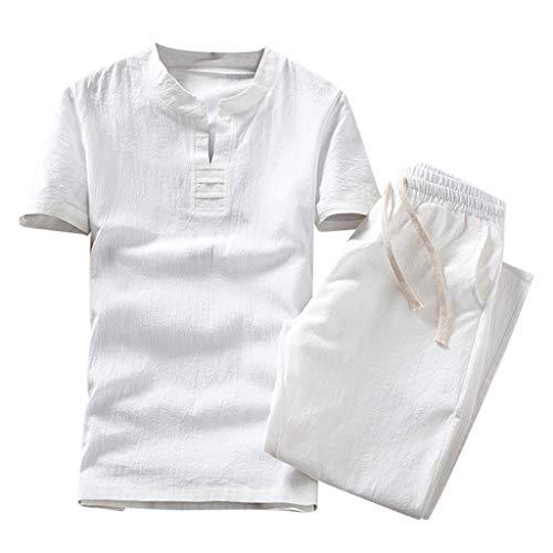 Magiyard T-Shirt Un Ensemble de Tops + Pantalons, Ensemble de vêtements Ensemble d'été Coton et Lin Survêtements A Set of Suit Chemise Homme Lin Ensemble Pants Blanc L2