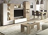 Miroytengo Conjunto salón Comedor con luz LED (Mueble salón Modular + Mesa Comedor + Mesa Centro)