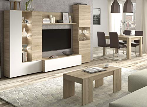 Miroytengo Conjunto salon Comedor con luz LED (Mueble salon Modular + Mesa Comedor + Mesa Centro)