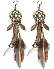 WOVELOT Smycken Brun Lång Fjäder Drömfångare Örhänge Hippie Fjäder Drömfångare Smycken Boho Stil