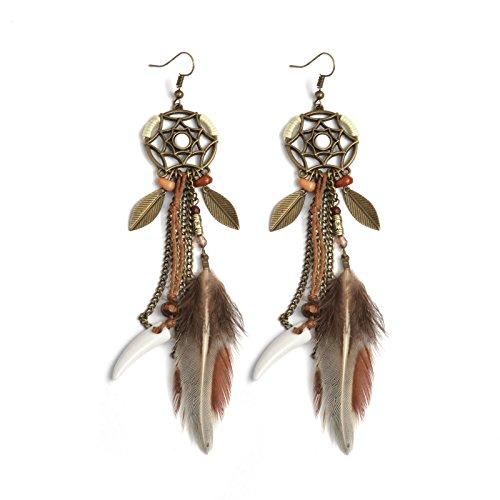Fransande Jewelry, pendientes de atrapasueños con plumas largas, color marrón, estilo bohemio