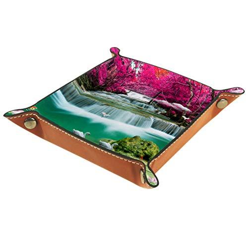 Valet Tray, PU Leder Catchall, Tray Organizer, Aufbewahrungsbox für Uhren Schmuckmünzen Key Wallet Naturlandschaft Wasserfall Crane Lotus Blumenquelle