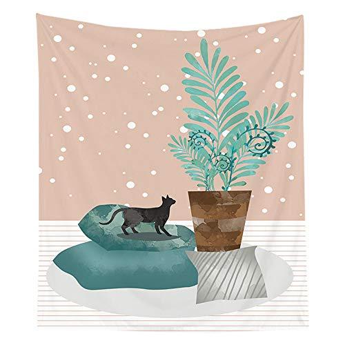 ZWXDMY Tapices,Cartoon Boho Manta Decorativa,Cat En El Sofá,Mandala Multifuncional Que Cubre La Pared De Fondo De Arte,Casa Dormitorio Dormitorio Salón Decoración,200 * 150Cm.