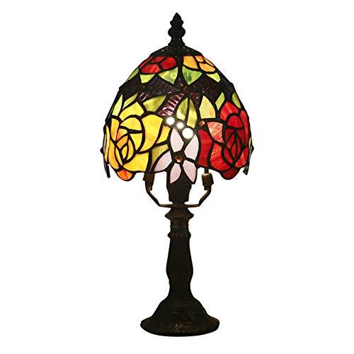 Tiffany Stil Tischlampe 6 Zoll Rote Gelbe Blumen Glasmalerei Schreibtischlampe Idylle Antik Handgefertigten Buntglas Lampenschirm Zink Basis für Schlafzimmer Wohnzimmer Couchtisch Nachttischlampe
