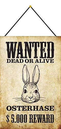 Blechschild Blechemma - Cartel con cordel (30 x 20 cm), diseño con texto 'Wanted Dead or Alive $5.000 Reward - Conejo de Pascua