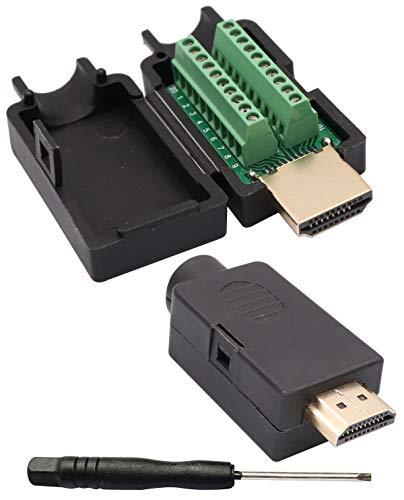 AAOTOKK HDMI Tornillo Adaptador de Bloque de Terminales HDMI Chapado en oro Macho a 20 Pines / Forma Hembra Terminal de Conexión sin Soldadura Conector Módulo de señal con estuche (2 Paquetes/Macho)