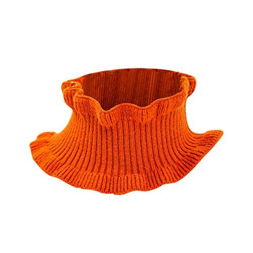 iKulilky Damen Wollschal,Halstücher Loop,Baumwolle Schal Stricken Nackenwärmer Einfarbig Frauen Gestrickter Schal für Frühling und Herbst Eine Größe - Orange