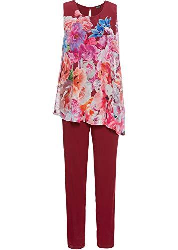 bonprix Modischer Jumpsuit im Two-in-One-Look mit Chiffon-Überwurf rot geblümt 48/50 für Damen