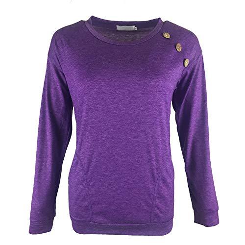 FrüHling Herbst Neue T-Shirt Weibliche Rundhalsausschnitt Knopf NäHte Langarm Tasche Top