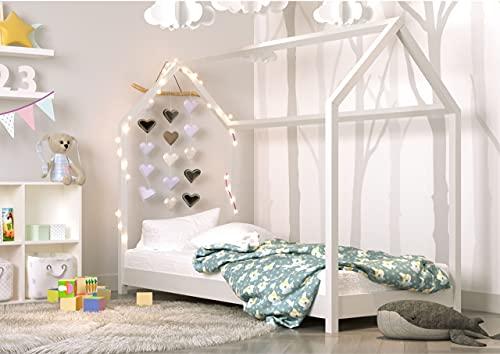 Children's Beds Home - Cama individual en forma de casa - Kofi - Tamaño 160x80, Color Blanco, Colchón 12 cm de espuma de alta resistencia