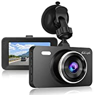 "Dash Cam 1080P DVR Dashboard Camera Full HD 3"" LCD Screen 170°Wide Angle, WDR, G-Sensor, Loop Recording Motion Detection Excellent Video Images(Black)"