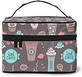 Helado café fresa (1) diseño grande bolsa de maquillaje para mujer portátil estuche cosmético organizador viaje con cremallera malla cepillo bolsillo aseo con asa chica