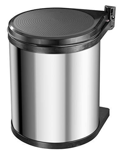 Hailo Compact-Box M, Einbau-Mülleimer aus Edelstahl/Kunststoff, 15 Liter, Deckel-Lift-System, einfache Montage, Edelstahl, Made in Germany, 3555-101