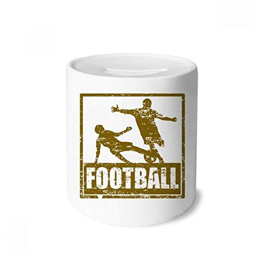DIYthinker Slide Brown del Futbolista Tackle Adultos Caja de Dinero de Cajas de Ahorro de cerámica Caja de la Moneda para niños