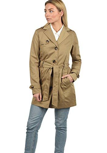 DESIRES Tessa Damen Trenchcoat Mantel Übergangsjacke mit Reverskragen und Gürtel, Größe:S, Farbe:Sand (4073)