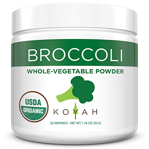 KOYAH - Organic USA Grown Broccoli Powder (1 Scoop Equivalent to 1/4 Cup Fresh): 20 Scoops, Freeze-dried, Whole-Vegetable Powder