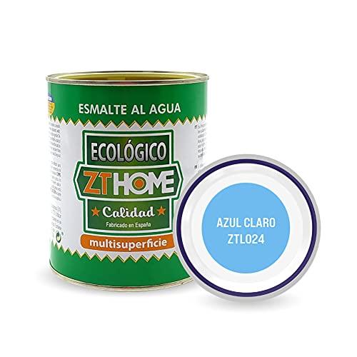 Pintura acrilica Ecológica al agua Azul claro para madera, metal, radiadores, aluminio / Esmalte al agua multi superficie / cunas, muebles, azulejos , puertas para exterior e interior 750ml