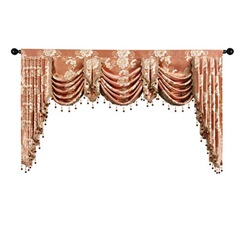 elkca Golden Jacquard Swag Waterfall Valance Luxury Curtain Valance for Living Room (Floral-Coffee, W79 Inch, 1 Panel)