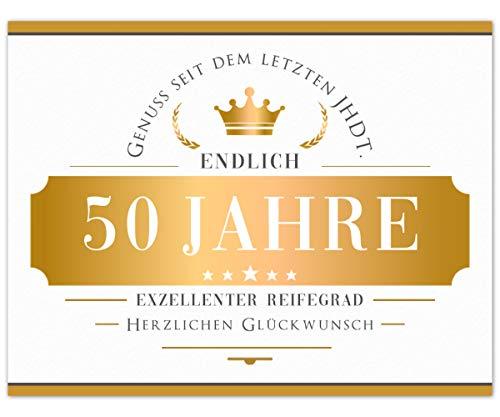 Flaschenetikett Endlich 50 Jahre, Aufkleber, Etikett selbstklebend, weiß Gold, Geschenk zum Geburtstag für Mann und Frau, witzige Dekoration